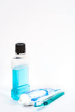 Mouthwash toothpast and brush Stock Photos