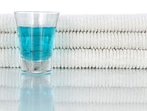 Mouthwash and towels stock image
