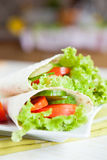 Mouthwatering Armenian lavash and fresh vegetables. Close up Stock Photo
