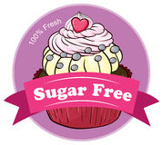 A mouthwatering cupcake with a sugar free label Royalty Free Stock Images