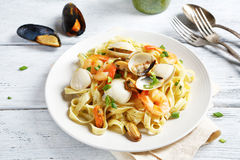 Mouthwatering pasta on a plate. Food closeup Stock Photos
