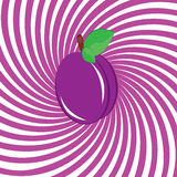 Mouthwatering plum. Illustration on an abstract purple background Royalty Free Stock Photo