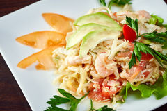 Mouthwatering salad of shrimp and vegetables Royalty Free Stock Image