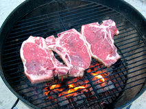 Mouthwatering T-Bone Steaks on. T-Bone steak on the red hot Grill stock image