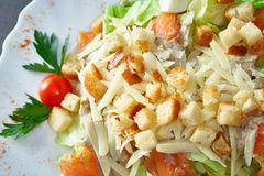 Mouthwatering vegetable salad with croutons. Close up Stock Image