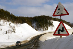 Mouting pass Kholmskiy  in winter Stock Photography