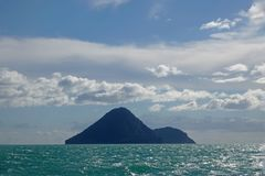 Moutohora or Whale Island in Whakatane, New Zealand. Whale Island in Bay of Plenty in the Tasmansea on the North Island of New Zealand royalty free stock photography