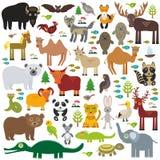 Moutons animaux p de serpent de raton laveur de taureau d'Eagle d'ours blanc de chèvres de morse de joint de fourrure de perdrix  illustration de vecteur