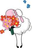 Moutons avec des fleurs Photos stock