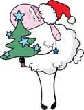 Moutons avec l'arbre de Noël illustration de vecteur