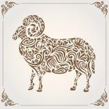 Moutons avec la conception florale Photo libre de droits
