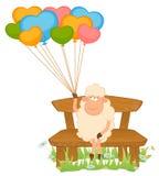Moutons de dessin animé avec des ballons. Images stock