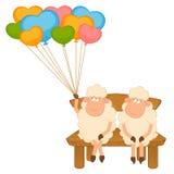 Moutons de dessin animé avec des ballons. Image libre de droits