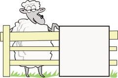 Moutons de dessin animé avec le signe Image stock