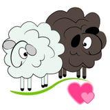 Moutons de dessin animé dans la carte de love.valentine Photos stock