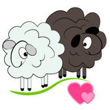 Moutons de dessin animé dans la carte de love.valentine Photos stock
