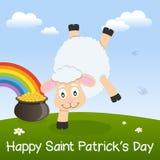 Moutons de jour de St Patrick s et pot d'or Image stock