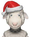 Moutons de sourire avec Santa Claus Hat Image stock