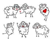 Moutons dessinés heureux dans l'amour Illustration de Vecteur