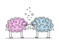 Moutons drôles dans l'amour, croquis pour votre conception Photos libres de droits
