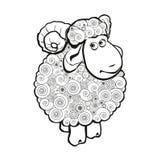 Moutons drôles pour livre de coloriage Image stock