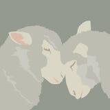 Moutons du résumé deux dans l'amour ; illustration de bande dessinée d'animaux de vecteur ; décor d'art Photo libre de droits