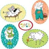 Moutons en été, hiver, printemps et automne Photographie stock