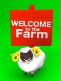 Moutons et enseigne sur le fond vert Photo stock