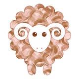 Moutons mignons d'aquarelle Images libres de droits