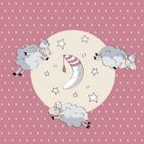 Moutons mignons de sommeil avec la lune Photographie stock libre de droits