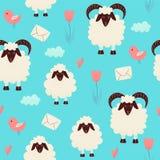 Moutons mignons sautant par-dessus la barrière illustration de vecteur