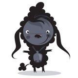 Moutons noirs de bande dessinée drôle de bébé mauvais avec une grande cloche Image libre de droits