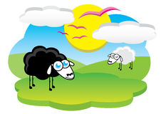Moutons noirs heureux Images stock