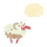 moutons sales de bande dessinée avec la bulle de pensée Images stock