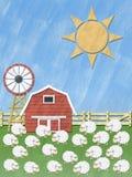 Moutons sur la zone d'herbe Photo stock