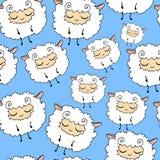 Moutons sur un fond bleu, modèle sans couture de moutons velus, drôles, rêveurs Illustration Libre de Droits