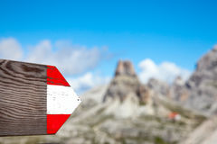 Moutrain hiking trail directional sign in Dolomites Italy Stock Photos