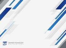 Mouvement brillant de couleur bleue géométrique abstraite de technologie diagonalement Photographie stock libre de droits