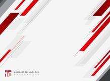 Mouvement brillant géométrique de couleur rouge de technologie abstraite diagonalement Images libres de droits