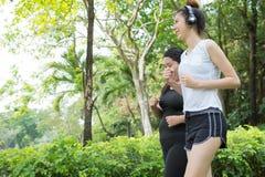 Mouvement brouillé de la grosse femme et de l'exercice mince de femme en pulsant en parc, ils fonctionnent pour la santé photo stock