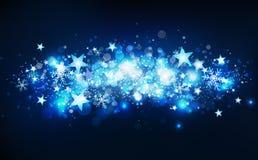 Mouvement d'étoiles filantes, saison d'hiver, étoiles confettis en baisse, flocons de neige et poussière magiques bleus, groupe t illustration de vecteur
