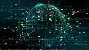 Mouvement d'abrégé sur particules de cyberespace de la terre de planète banque de vidéos