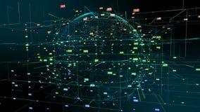 Mouvement d'abr?g? sur particules de cyberespace de la terre de plan?te images libres de droits