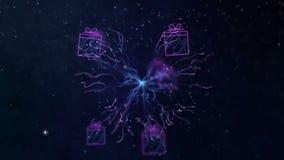 Mouvement dans l'espace par les décorations numériques de Noël Animation de bouclage abstraite sans couture pour le thème de vaca illustration stock