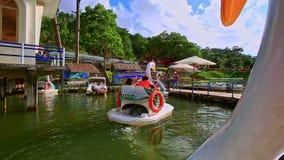 Mouvement de bateaux de pédale de cygne de plan rapproché à Pier People Get Off banque de vidéos