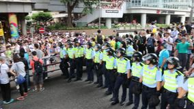 Mouvement de parapluie en Hong Kong banque de vidéos