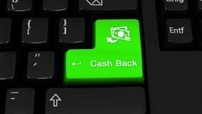 23 Mouvement de rotation de dos d'argent liquide sur le bouton de clavier d'ordinateur illustration stock