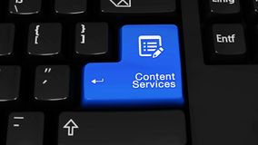 Mouvement de rotation de services de contenu sur le bouton de clavier d'ordinateur illustration libre de droits