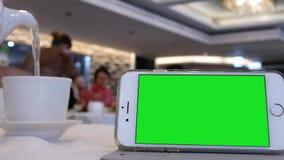 Mouvement de téléphone et d'homme d'écran vert versant le thé chaud dans la tasse banque de vidéos