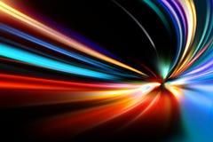 Mouvement de vitesse d'accélération sur la route de nuit Image stock